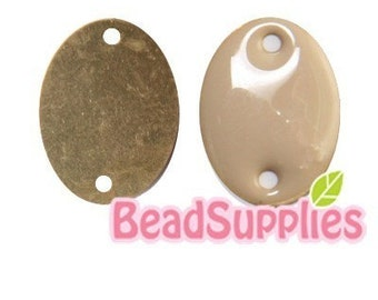 CH-CT-01054 - Nickel Free, Raw Brass 12mm Colorful Dots, Beige, 12pcs