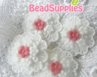 CA-CA-01816 - 2-tone white/pink Wax Flowers Cabochon, 4 pcs