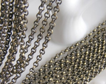 FN-CH-03002 - Nickel Free, 3MM Antique Brass Rolo Chain, 1 meter