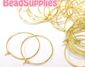 FN-ER-02020 - Nickel Free, Gold plated ear loop, 8 pairs