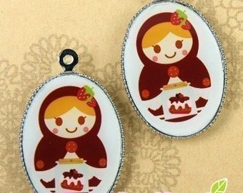 CH-LU-01160 - (New and Exclusive) Matryoshka Doll oval cameo charm, Ms Choco - Special Edition, 2pcs