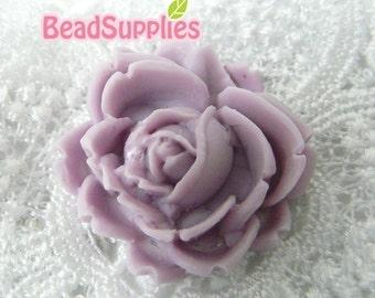 CA-CA-00305 - Lilac Flat Rose Cabochon, 2 pcs