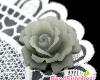 CA-CA-04208 - Cool Grey Rose bud Cabochon, 2 pcs