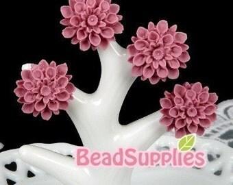 CA-CA-01541 - Violet chrysanthemum Cabochon,  6 pcs