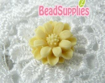 CA-CA-01224 - Creamy mini flower cabochon, 6 pcs