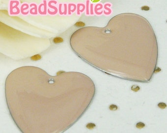 CH-CT-05006- NIckel free Colored heart tag, beige, 6 pcs