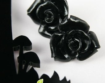 CA-CA-10125- (New and Unique) 3D Rose, Black,2pcs