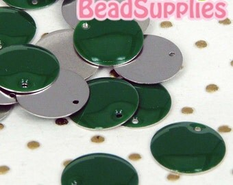 CH-CT-04007 - Nickel Free, Silver plated 8mm Colorful Dots Tag,Green, 12pcs