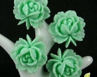CA-CA-01304 - Chrysolite Small Rose Cabochon  6 pcs