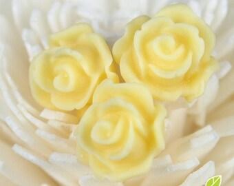 CA-CA-10213- (New and Unique) 3D Blossom Rose,light yellow, 4pcs