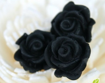 CA-CA-10212- (New and Unique) 3D Blossom Rose with horizontal hole at bottom, black, 4pcs