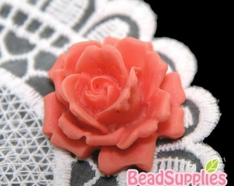 CA-CA-04203 - Coral Red Rose bud Cabochon, 2 pcs
