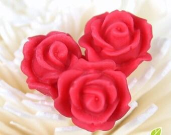 CA-CA-10217- (New and Unique) 3D Blossom Rose,red, 4pcs