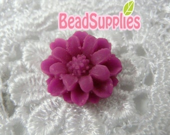 CA-CA-01204- Fuchsia mini flower Cabochon, 6 pcs