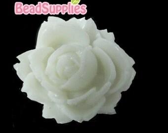 CA-CA-00316 - PEARL White Flat Rose Cabochon, 2 pcs