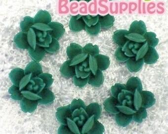 CA-CA-04916 - 6-petal Flat rose- Emerald Green, 4 pcs