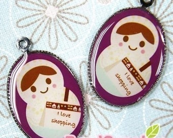 CH-LU-01182 - (New and Exclusive) Matryoshka Doll oval cameo charm, Ms Shopaholic - Special Edition, 2pcs