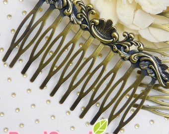 One Dollar  - FN-RB-03031 - Art Nouveau Filigree Hair Comb for beadwork, antique brass, 1 pcs