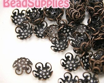 Wholesale - FG-FG-04024 - NIckel free Antique Red Copper,  5 petal beads cap, 120 pcs