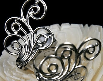 FN-RB-01025- Nickel Free Silver plated Spiral Feather filigree ring  base, 4 pcs