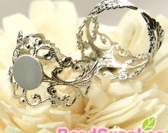 FN-RB-01054 - Nickel Free, Lead Free, Silver Plated, Art Nouveau Filigree ring base with 8mm glue on pad, 10 pcs