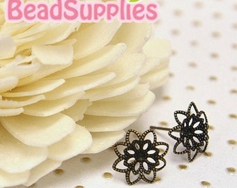 FN-ER-03023 -Nickel Free, Antique Brass, Stud earpost with 8-petal flower filigree pad (with ear nuts), 6 pairs
