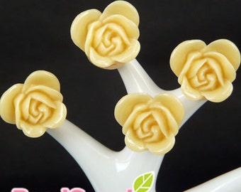 CA-CA-06404 -  Butterfly Rose cabochon, yellow ,6 pcs
