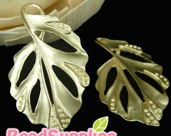 CH-ME-02099- Matted Gold plated, Elegant Leaf, 4 pcs