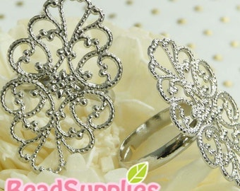 FN-RB-01032- Nickel Free Silver plated Art Nouveau Oval filigree ring V1(Adjustable), Buy 4 get 2 pc free