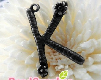 CH-ME-15002 -  Antique gunmetal black, Flower Alphabet - K, 2 pcs