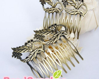 FN-HA-03008 - Antique brass, Feather and leaf Hair Comb for beadwork 2 pcs