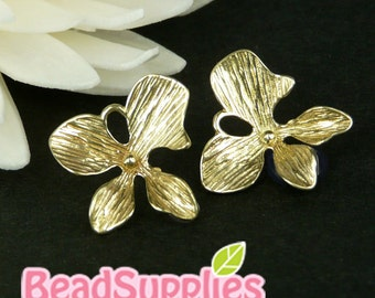 CH-ME-08009- Nickel Free, Raw Brass, 4-petal Orchids charms with connector loops, 6 pcs