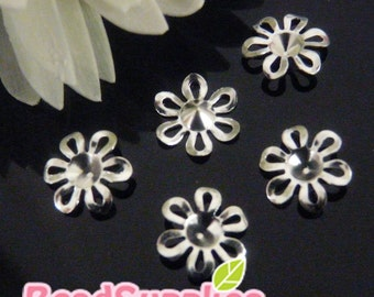 FG-FG-01041 - Nickel free, lead free,  silver plated 6 petal floral beadcaps, 24 pcs