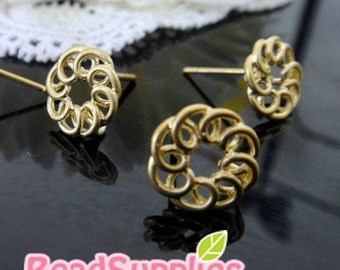 FN-ER-02025 -Nickel Free and Lead Free, Gold plated, Elegant twisted ring Stud earpost , 4 pairs