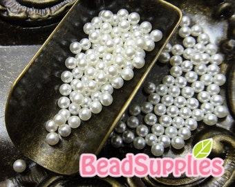 CA-AR-05001- New and Unique - Faux pearl 2.5mm round beads/balls with no holes, pearl white, 100 pcs