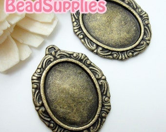 CH-CS-03028-  Nickel free , antique brass, Vintage style art nouveau oval cameo setting charm , 4 pcs (for 25mmx18mm cabochon)
