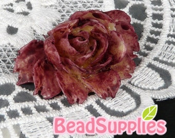 CA-CA-02936 - Tie-Dyed Burgundy Rose Cabochon, 2 pcs -