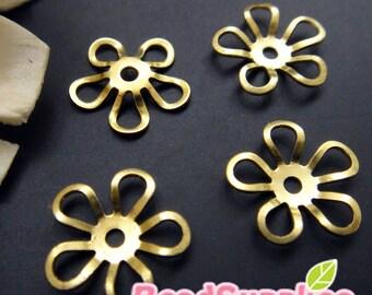 FG-FG-08060- Nickel Free, Raw Brass, 5-petal daisy connector, 24 pcs