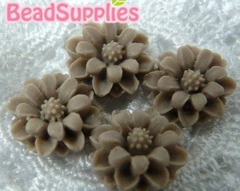 CA-CA-01223 - Brown mini flower Cabochon, 6 pcs