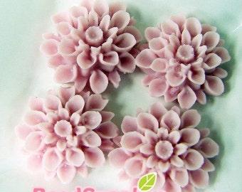 CA-CA-01521 -Light rose chrysanthemum Cabochon,  6 pcs