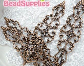 Special offer - FN-RB-04007 - NIckel free Antique Red copper Art Nouveau Filigree for ring base,Buy 6 pcs get 2 pcs free