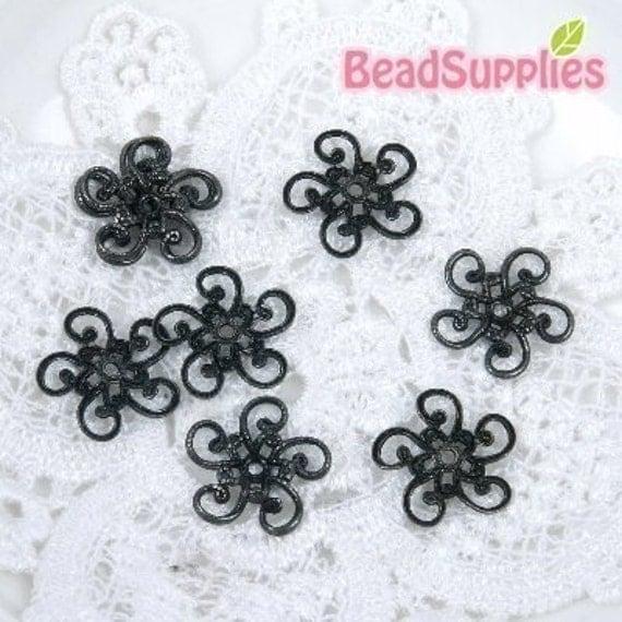 Clearance - FG-FG-07010 - Gunmetal Black 5-petal flowers filigree beads cap,24 pcs