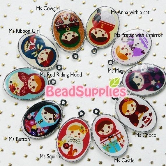 CH-LU-01097-112, 1158,59,60,61  - Matryoshka Doll oval cameo charm sampler,10 pcs - Special Edition
