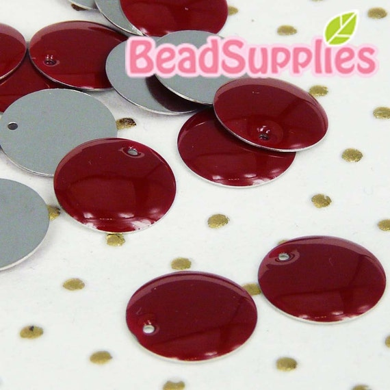 CH-CT-04003 - Nickel Free, Silver plated 8mm Colorful Dots Tag, Red, 12pcs