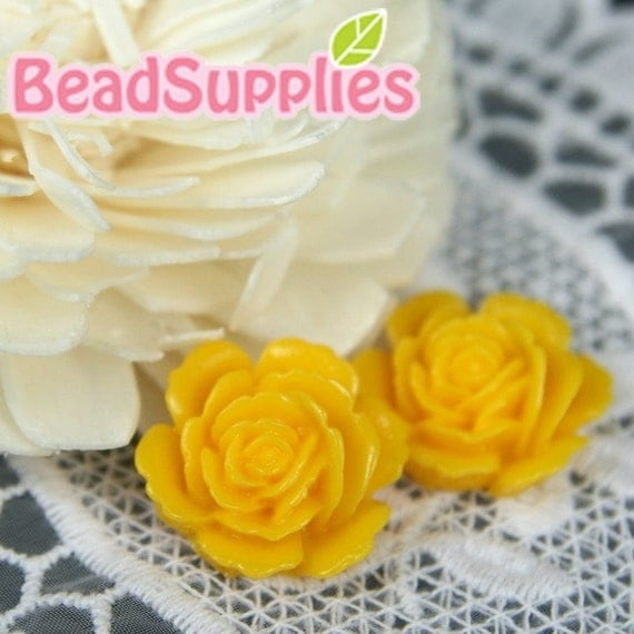 Special Offer - CA-CA-05819 - Layered Peony Cabochon, Egg Yolk Yellow,4 pcs