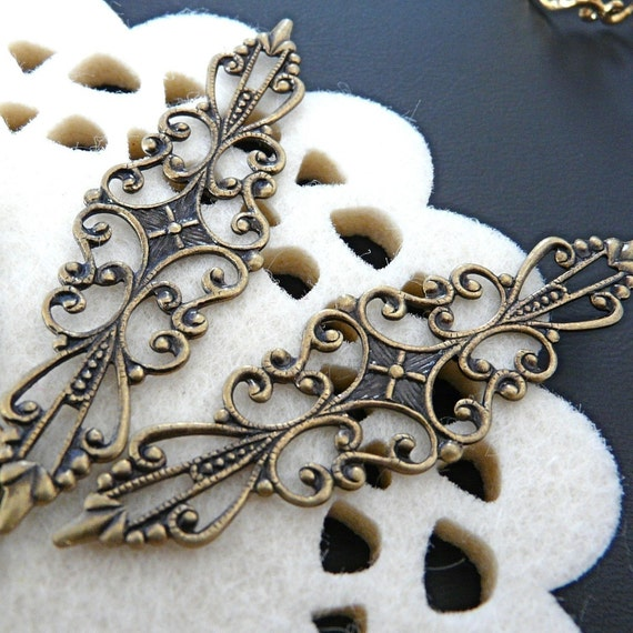 Special Offer - FN-RB-03006 - Nickel free Antique brass Art Nouveau Filigree for ring base, Buy 6 pcs get 2 pcs free