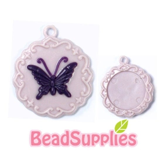 CA-CA-10403 - Round butterfly cab setter, Lilac with purple butterfly, 2 pcs