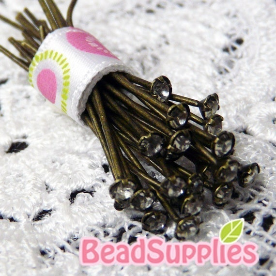 FN-HP-03006 - New and Unique Nickel Free and Lead Free Antique brass, Rhinestone headpins, 36pcs (22 gauge)