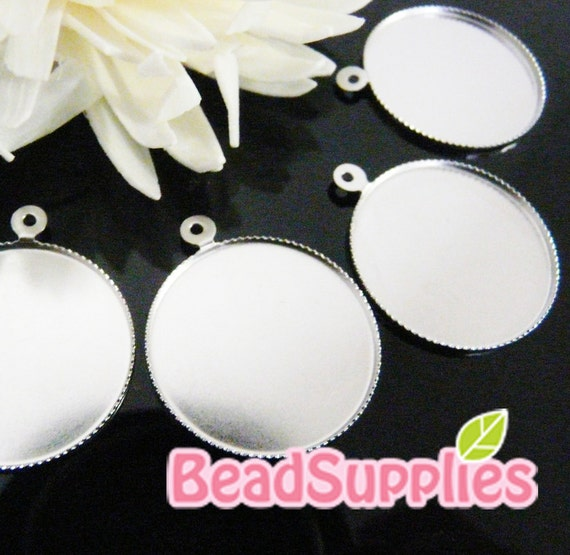 CH-CS-09004-  Nickel free and lead free, Round cameo setting , 6 pcs (for 24mm cabochon)