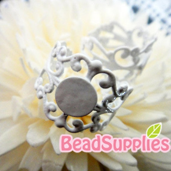 FN-RB-09023 - Nickel Free, White enameled Art Nouveau Filigree ring base with 8mm glue on pad, Buy 6 get 2 pcs free